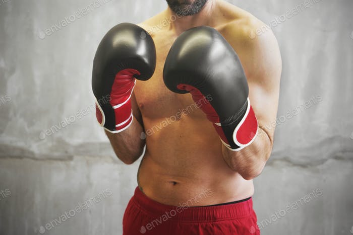 Boxing man ready to fight