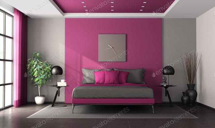 Purple and gray master bedroom with moder double bed - 3d rendering
