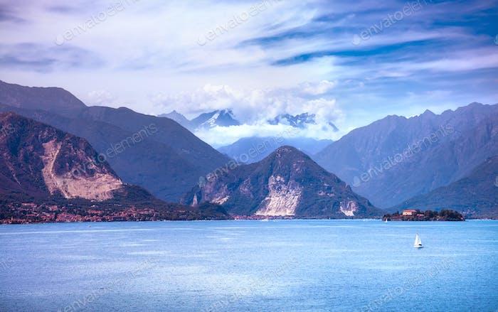 Maggiore See und Monte Rosa Weissmies Alpengebirge, Stresa Pie
