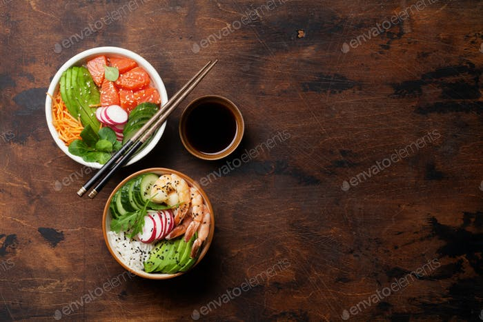 Poke bowl with salmon, shrimps and vegetables