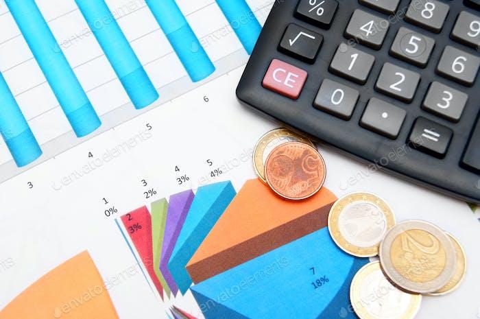 La calculadora y las monedas. En gráficos financieros.