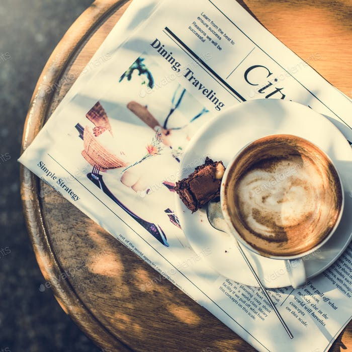 Coffee Shop Cafe Latte Cappuccino Newspaper Brownie Concept