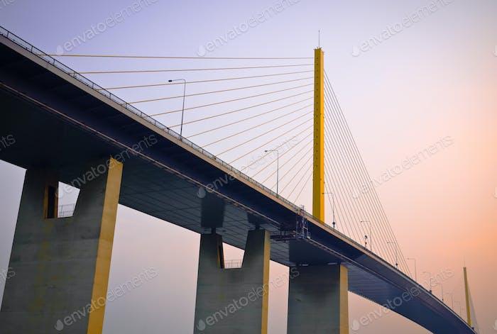 Suspension bridge at the dawn