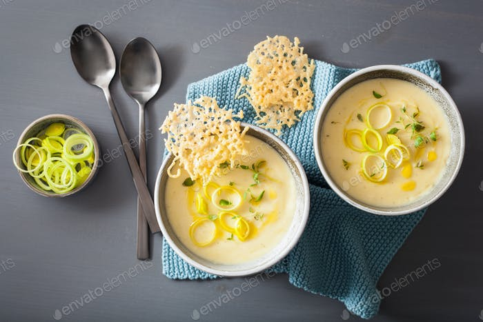 creamy potato and leek soup in bowl