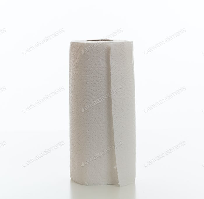 Cleaning paper roll isolated against white background,