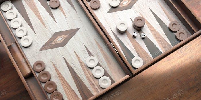 Backgammon, Würfel und Chips Nahaufnahme auf dem Spielbrett. 3D Illustration
