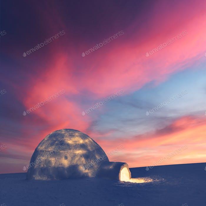 Настоящий снег igloo дом в зимних горах, светящийся вечерним солнечным светом