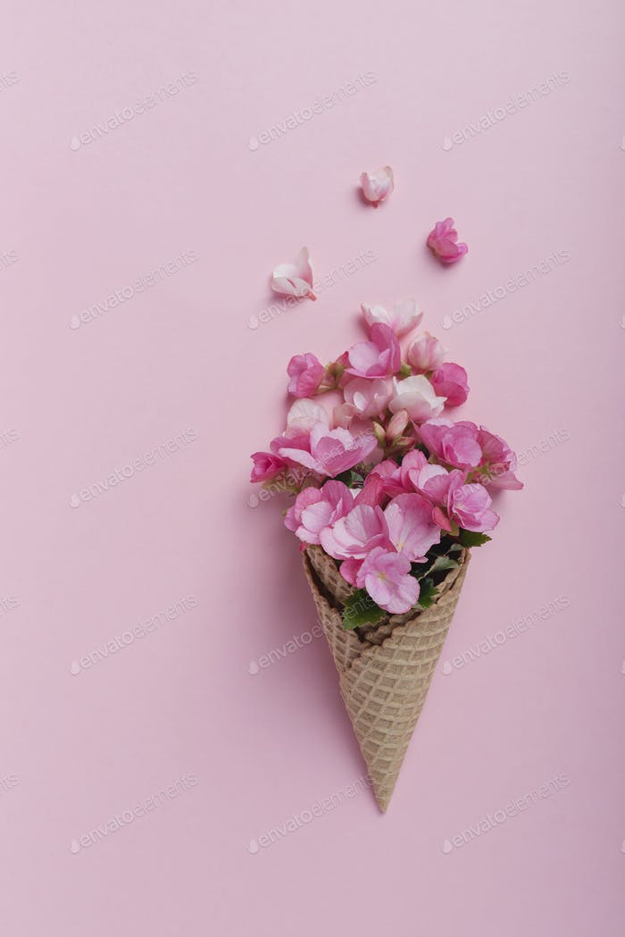 Ice cream cone with pink begonia flowers