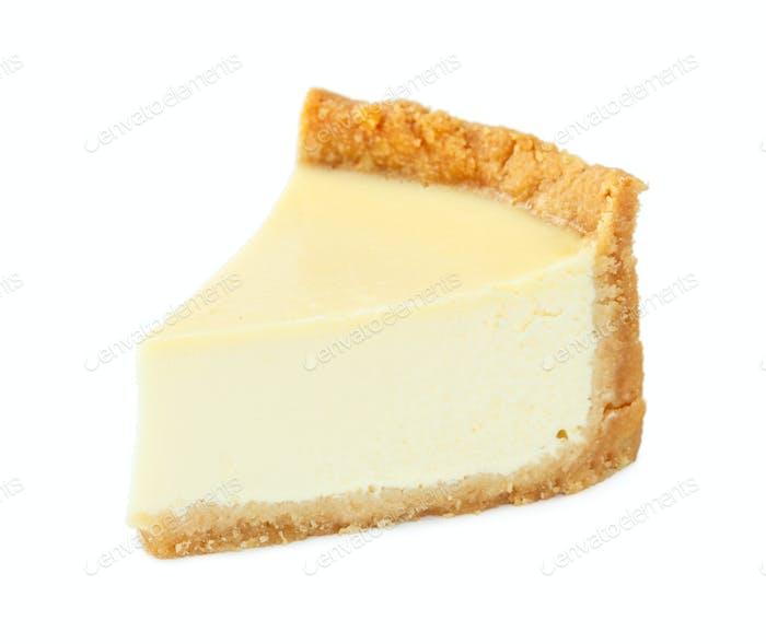 Classic New York cheesecake isolated on white