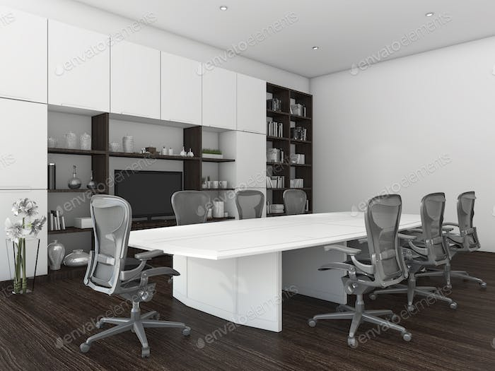 3d rendering meeting room for business with dark wood floor