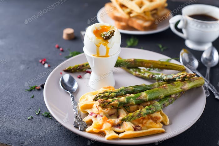 boiled egg and asparagus