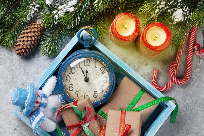 Christmas decor box, gift boxes, candles