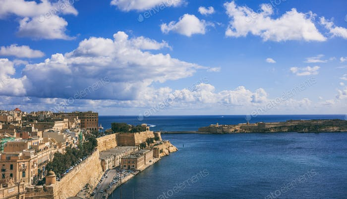 Valletta, Malta. Grand harbor entrance, view from Upper Barrakka Gardens