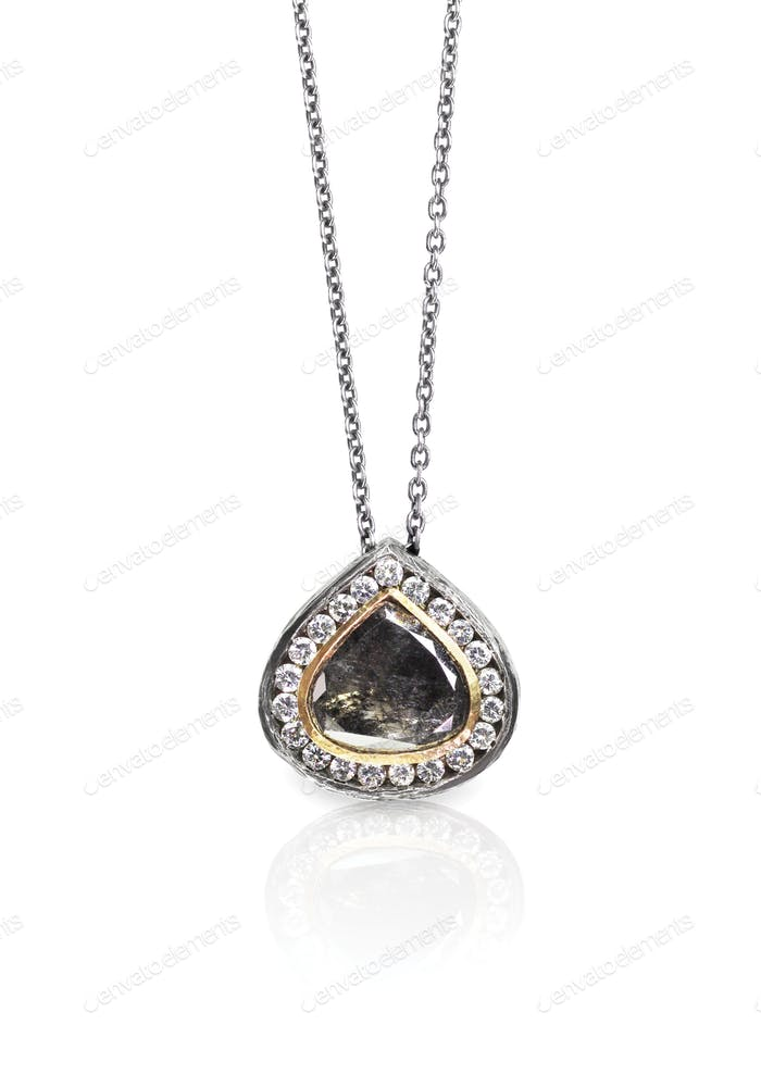 Raw Diamond Gemstone Brown Pendant Necklace.