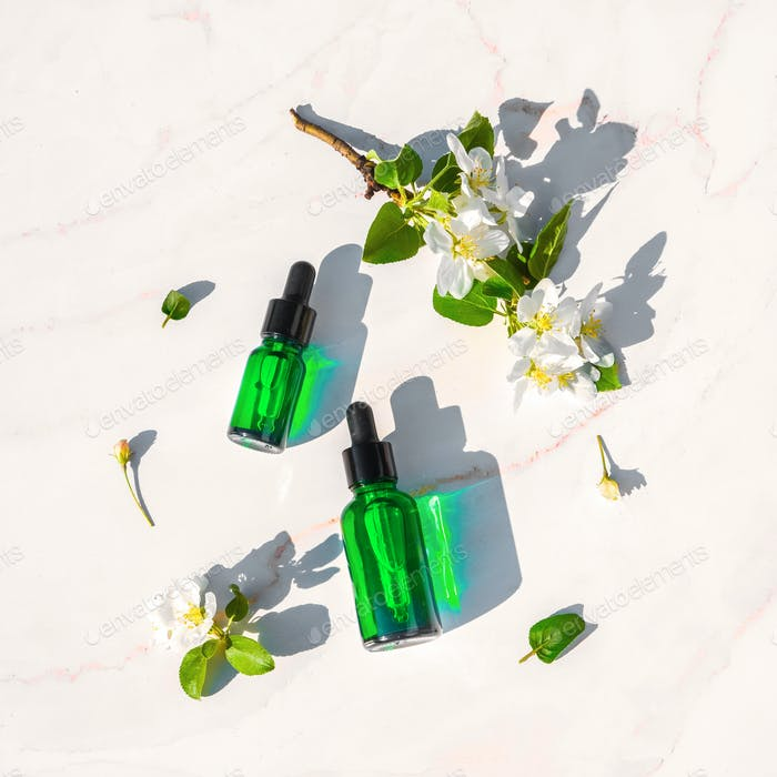 Serum with herbal extracts for skincare. Flat Lay minimalism