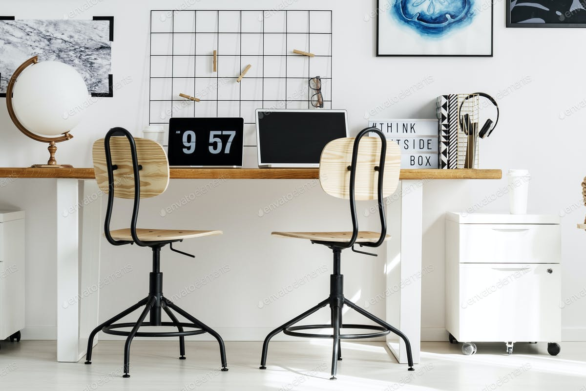 Stylish office at home photo by bialasiewicz on Envato Elements