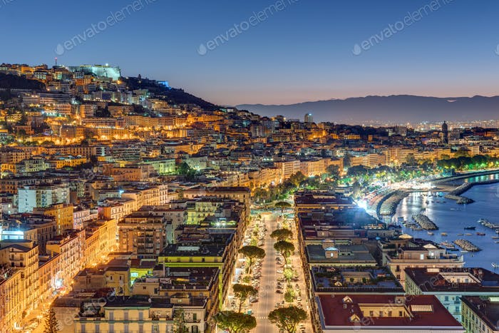 View of the Posillipo and Vomero district in Naples