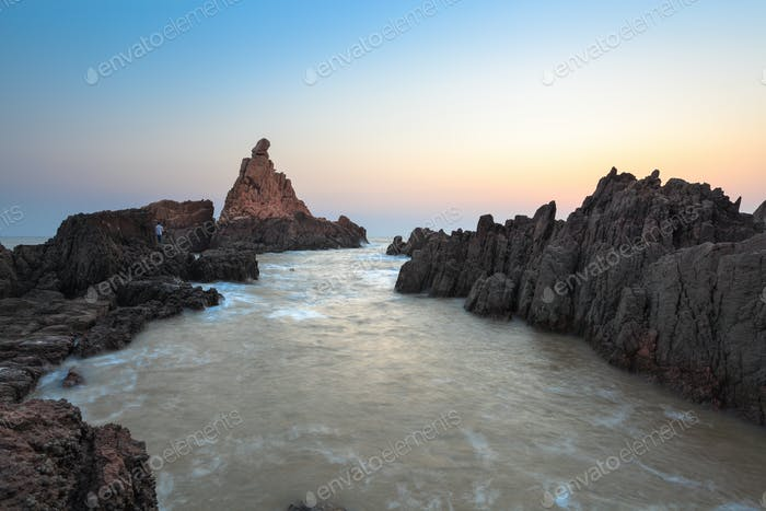 rock reef at sunrise