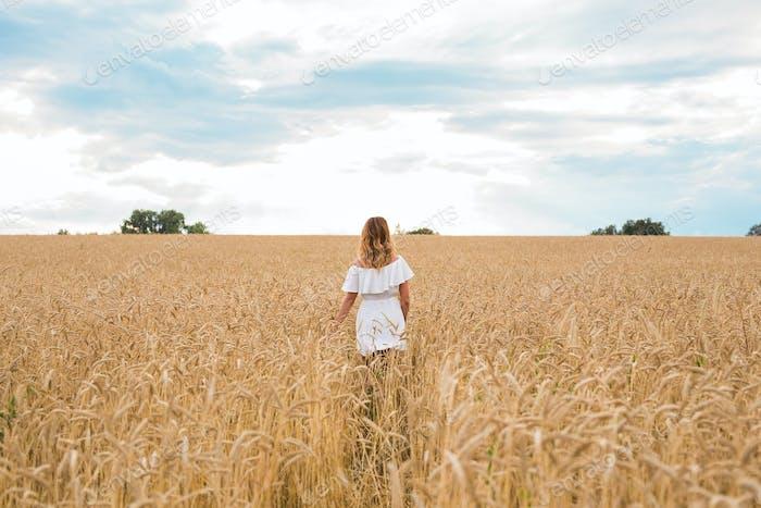 Frau zu Fuß in der Weizen- Konzept über Natur, Landwirtschaft und Menschen.