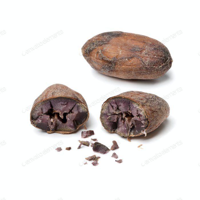 Whole and halved cocoa bean close up
