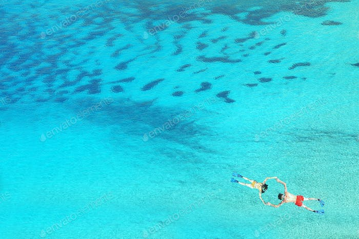 Above view of snorkeling couple