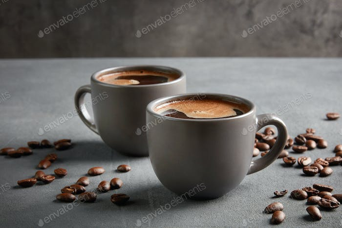two cups of fresh homemade coffee