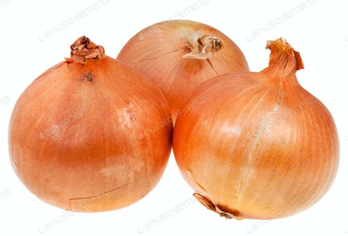 three onion bulbs