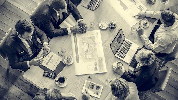 People Meeting Brainstorming Blueprint Design Concept