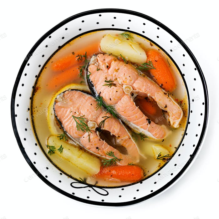 Lachsfischsuppe mit Gemüse in Schüssel. Flache Lag. Ansicht von oben