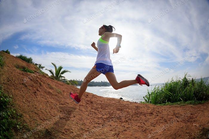 Running on seaside hill