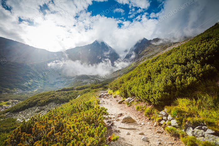 Tourist trail in High Tatra mountains, Slovakia