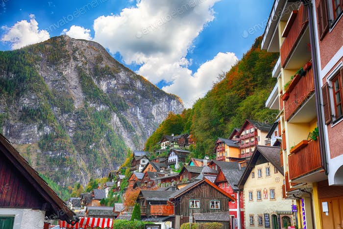 Classic postcard view of famous Hallstatt lakeside town  in the Austrian Alps