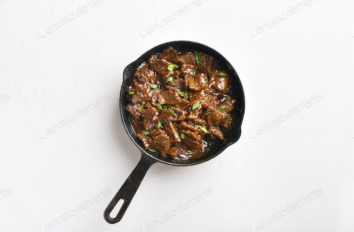 Mongolian beef, top view
