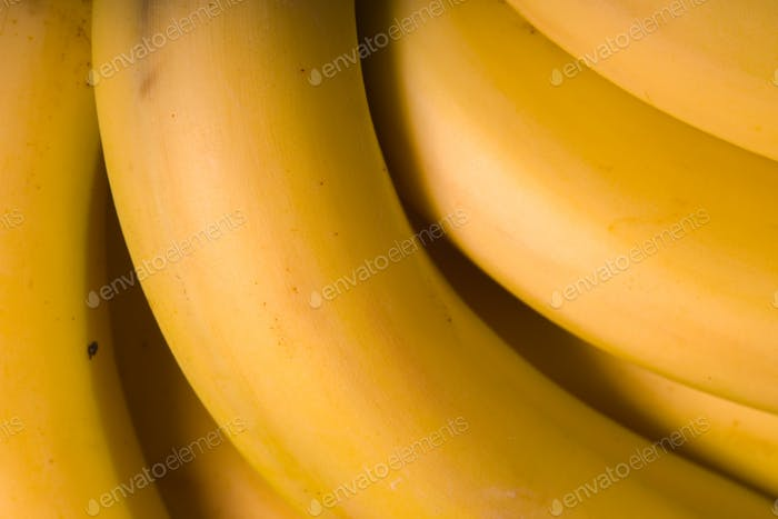Fresh organic Banana top view closeup