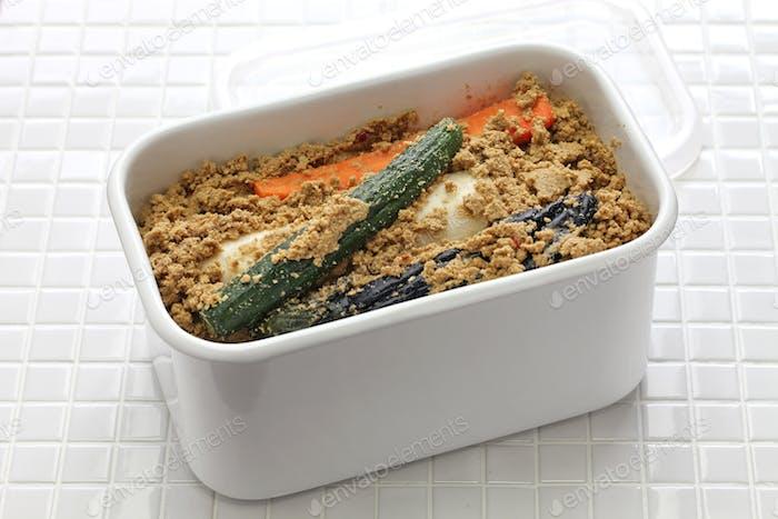 rice bran pickled vegetables in a refrigerator