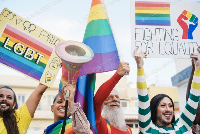 Gay and transgender people protest at pride event outdoor