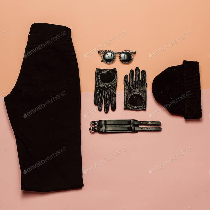 Stylish outfit View from above. Black clothes and accessories, B