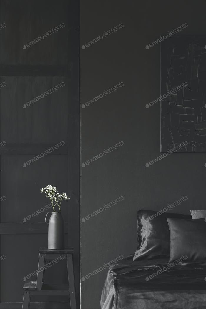 Simple black bedroom interior