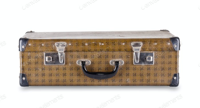Checkered suitcase lying