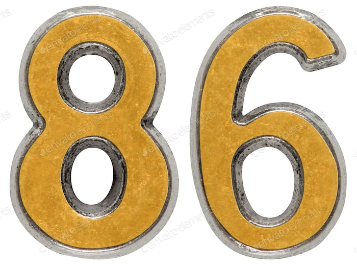 Metal numeral 86, eighty-six, isolated on white background