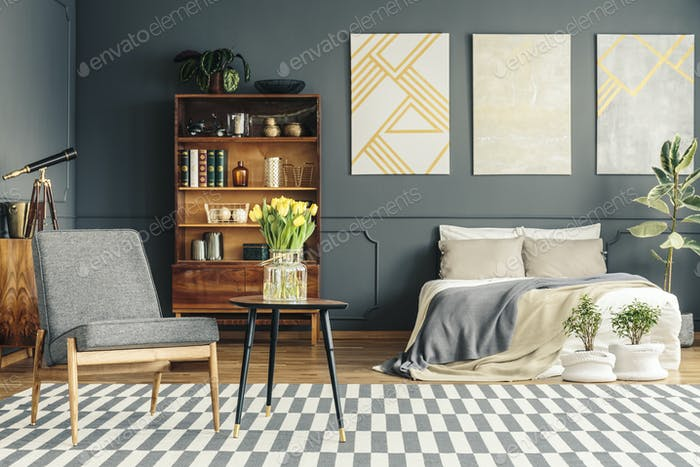 Cozy bed in retro bedroom