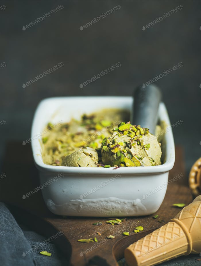 Homemade pistachio ice cream in ceramic mold