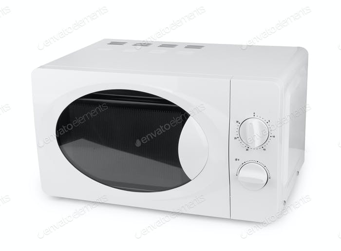 New white microwave on a white background
