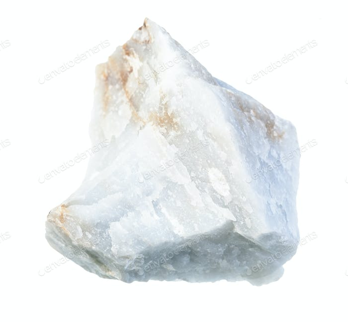 unpolished Angelite (Blue Anhydrite) rock isolated