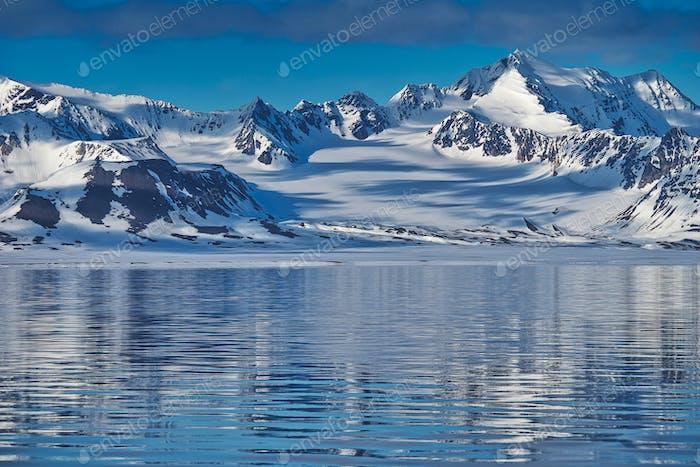 Snowcapped Mountains, Oscar II Land, Arctic, Svalbard, Norway