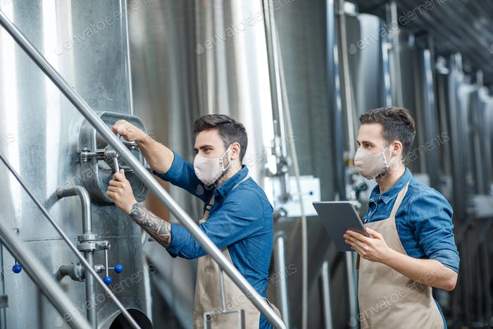 Beer production at factory during covid-19 epidemic