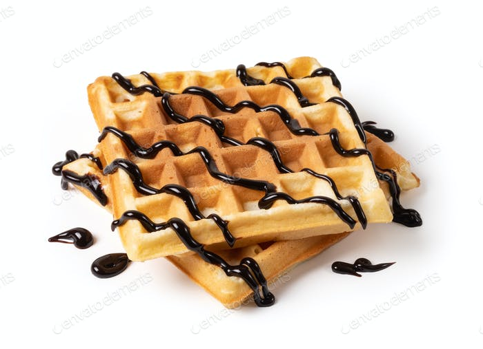 viennese waffles with chocolate syrup