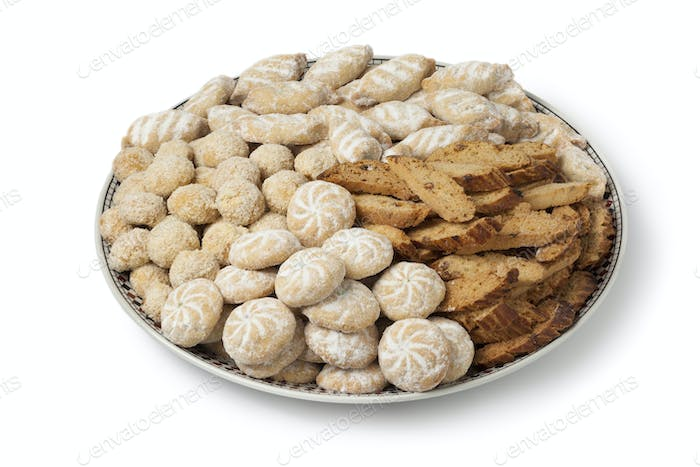 Dish with Moroccan festive homemade cookies