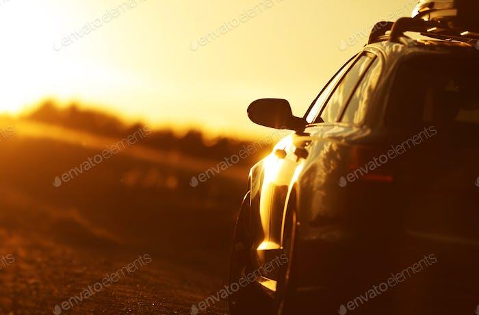 Golden Hour Car Road Trip