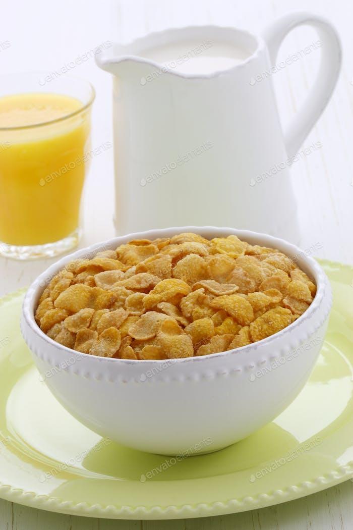 Delicious corn flakes breakfast
